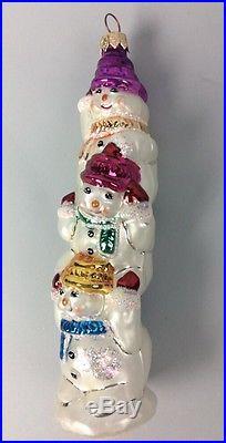 Christopher Radko Snowman Ornament Christmas Snowmen 3 Tall Stacking Rare