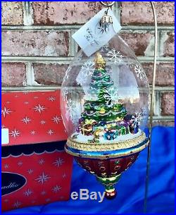 Christopher Radko Splendid Spruce Christmas Tree Snow Globe Style Ornament RARE