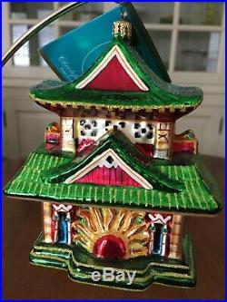 Christopher Radko Tea House Temple Blown Glass Ornament NEW 2005 Retired