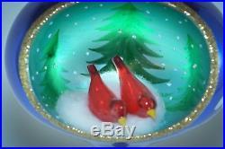 Christopher Radko Teardrop Ornament SUPER RARE'95 RED BIRDS WINTER NEST DIORAMA