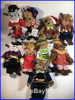 Christopher Radko Teddies Around The World 8 Plush Christmas Ornaments Lot Of 9