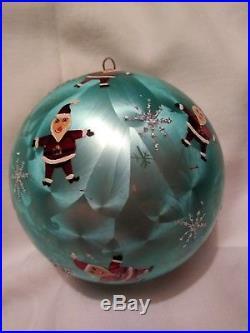 Christopher Radko Turquoise Santa Blown Glass Ball Christmas Ornament 4.5