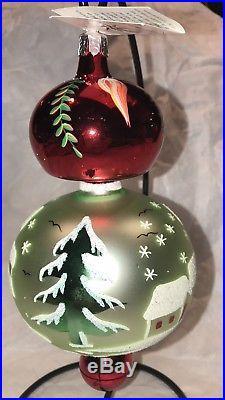 Christopher Radko Vintage 1988 Mushroom Winter Glass Ornament