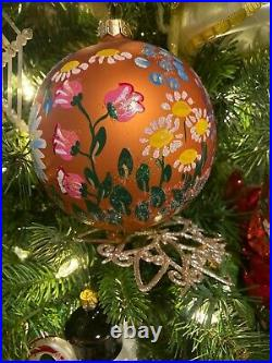 Christopher Radko Vintage English Garden Ball Glass Ornament