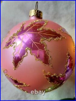 Christopher Radko Vintage Rainbow Scarlett Set Of 6 Glass Christmas Ornaments