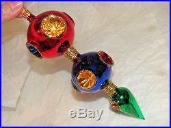 Christopher Radko Vintage Triple Drop ornament. 9 colorful reflector indents