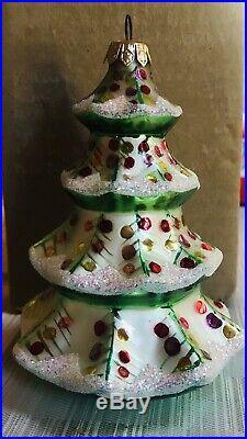 Christopher Radko Vintage Winter Tree Glass Ornament Cat # 92-101-2