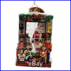 Christopher Radko WINDOW FULL OF MAGIC Glass Ornament Santa Snowman 1019776