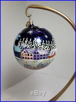 Christopher Radko WINTER VIEW 02-0465-0 beautiful Blue glass ornament 4 ball