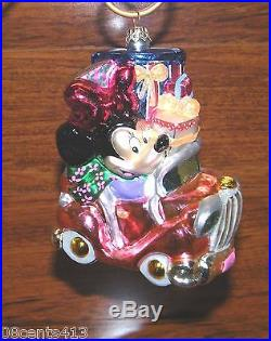 Christopher Radko Walt Disney's Cruisin' Minnie Mouse Glass Christmas Ornament
