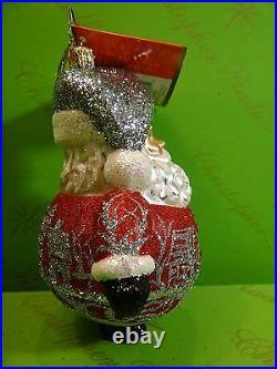 Christopher Radko Winter Scene Ho Ho Red Glass Ornament red color