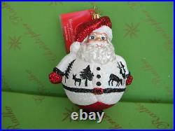 Christopher Radko Winter Scene Ho Ho White Glass Ornament