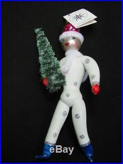 Christopher Radko Winter Skate Glass Christmas Ornament Bottle Brush Tree Italy