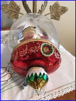 Christopher Radko Woodland Traveler Christmas Ornament Santa In Dome Retired