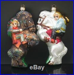 Christopher Radko Yippy Yi Yo 1997 Ornaments Set Of 2 Cowboy Native American Mib