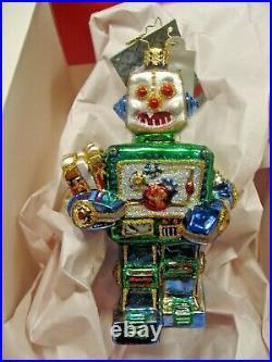 Christopher Radko Yule-Bot Robot Glass Christmas Ornament 1015960