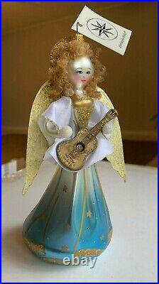 Christopher Radko vintage collectible glass ornament Guitar picking angel