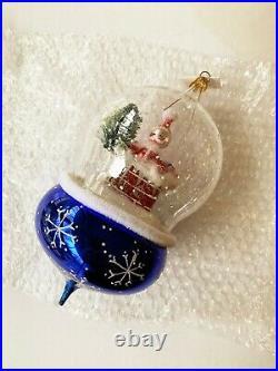 Christopher Radko vintage collectible glass ornament santa globe