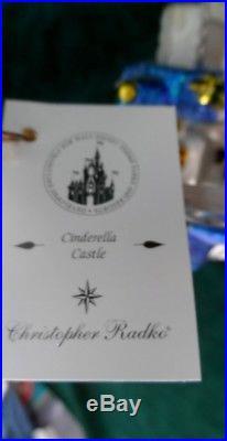 Disney Christopher Radko Cinderella Castle Blue Glass RARE New in Box WOW