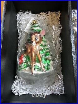 Disney Radko Bambi 55th Anniversary Christmas Ornament Set #1317 of 2500 New