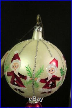 EARLY Christopher Radko CIRCLE OF SANTAS Glass Ball/Balloon Christmas Ornament