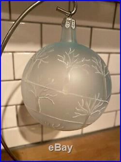 FIRST YEAR Christopher Radko Winter Landscape Ball Ornament See thru RARE