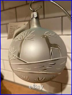 FIRST YEAR Christopher Radko Winter Landscape White Ball Ornament RARE 1990 Tag