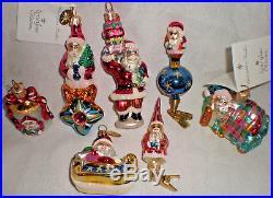 Group 7 Christopher RADKO LITTLE GEMS SANTA ornaments 2 new 2 clip-on 1 bell