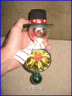 HUGE CHRISTMAS Christopher Radko Ornament FROSTY THE SNOWMAN TRIPLE REFLECTOR