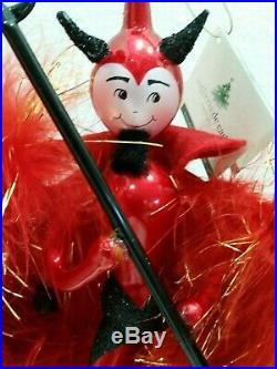 Italian Glass Christmas Ornament Red Devil De Carlini