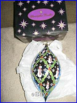 LARGE 7 ORIGINAL Christopher Radko Blue Christmas xmas Ornament snowmen RARE
