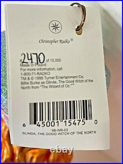 LTD ED RARE CHRISTOPHER RADKO 1998 GLINDA THE GOOD WITCH Wizard of Oz Ornament