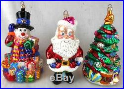 Lot of 3 Christopher Radko Large Standing Glass Christmas Ornaments