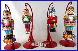 Lot of 4 Christopher Radko Glass Nutcracker Soldiers Ornaments withStands
