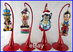 Lot of 4 Christopher Radko Glass Ornaments withStands Disney Cartoon Characters