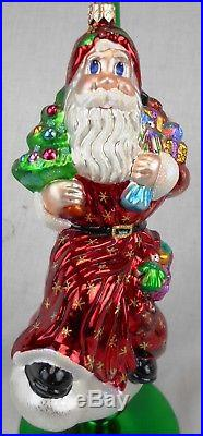 Lot of 4 Christopher Radko Glass Santa Claus Ornaments withStands