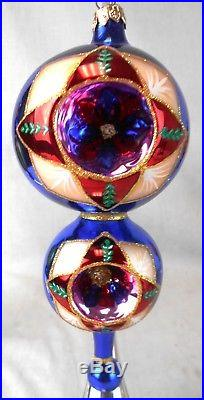 Lot of Christopher Radko Glass Christmas Tree Finial & 3 Ornaments withStands