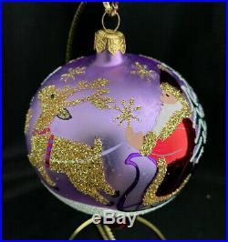 Mint 1993 Radko Ornament 5.5 Siberian Sleighride Red Ball Drop Finial 93-403-0