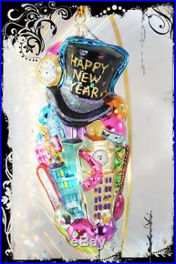 NEW! Christopher Radko HAPPY NEW YEAR New York Handcrafted Huge Glass Ornament