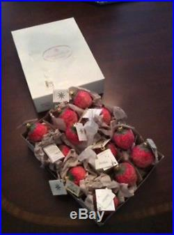 NEW withtags, SET OF 12, CHRISTOPHER RADKO STRAWBERRY ORNAMENTS, MINT, VINTAGE