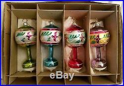 NIB 2003 Christopher Radko FLEURISSE 4 Set Fantasia Bird Drop Ornaments 1010538