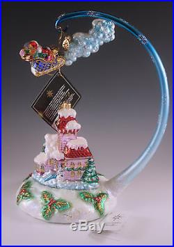 New 2003 Radko Midnight Magic Large 3 Pcs Ornament Set Santa, House And Stand