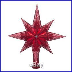 New Christopher Radko Ruby Stellar Finial Tree Topper 14T