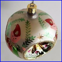 Pearl 2 Tier Christopher Radko Elf 3 Reflector Ball Ornament 1992 Laurel Jester