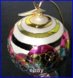 RADKO MULTI COLORED RINGS Glass Ball Christmas Ornament 5