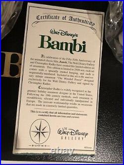 RADKO SIGNED DISNEY BAMBI 55th ANNIVERSARY CHRISTMAS ORNAMENT SET 60/2500 NIB