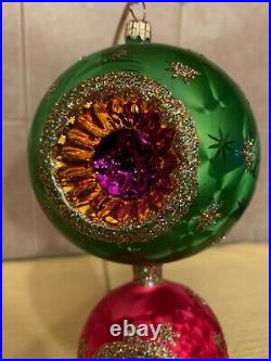 RADKO StarBright Reflector Tiered Ornament Green & Pink with Glitter 00-432-0