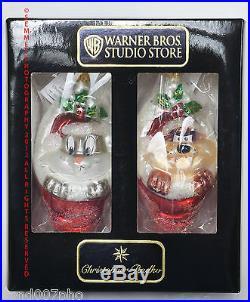 RADKO Warner Brothers BUGS BUNNY & TAZ Christmas ORNAMENT SET NIB Looney Tunes