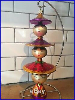 RARE 2001 Christopher Radko PEKING MAIDENS 3 Chinese Totem Ornament 01-1108-0