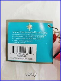 RARE CHRISTOPHER RADKO JOLLY GLOW BRIGHTLY ASST 2 DROP ORNAMENTNo box
